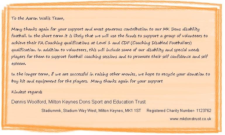 Thanks to the Aaron Wallis team from MK SET